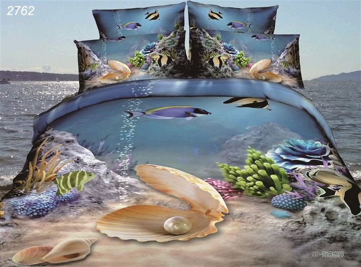 Cheap bedding sets full size, Buy Quality bedding set hello kitty directly from China bedding comforter Suppliers:  Ocean underwater world 3D fish Shell Coral bedding set 3_d quilt/comforter/duvet cover bedspread bed sheet pillowcase s