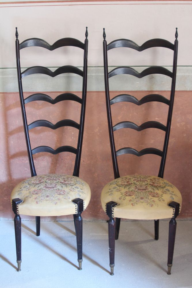 Unusual Pair Of Highback Chair In The Style Of Paolo Buffa Wood, Brass,  Original