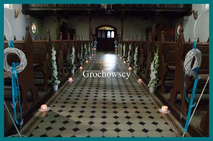 dekoracja kościoła na ślub Człuchów Debrzno dekoracje ślubne Człuchów Debrzno ślubna alejka dekoracje ławek