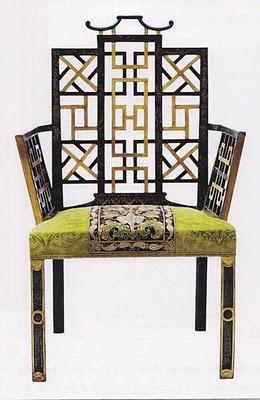 """poltrona UK 1754 dalla stanza da letto """"cinese"""" Badminton House (legno dorato e con lacca giapponese, tappezzeria imbottita)"""