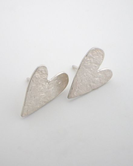 Valentines Jewellery; made in New Zealand.  Sterling Silver heart studs