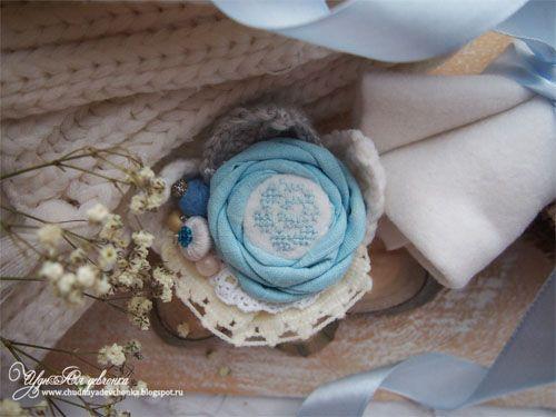 "Бохо Брошь ""В саду у Снежной Королевы"" / Boho Brooch ""In the garden of the Snow Queen"". Embroidery"