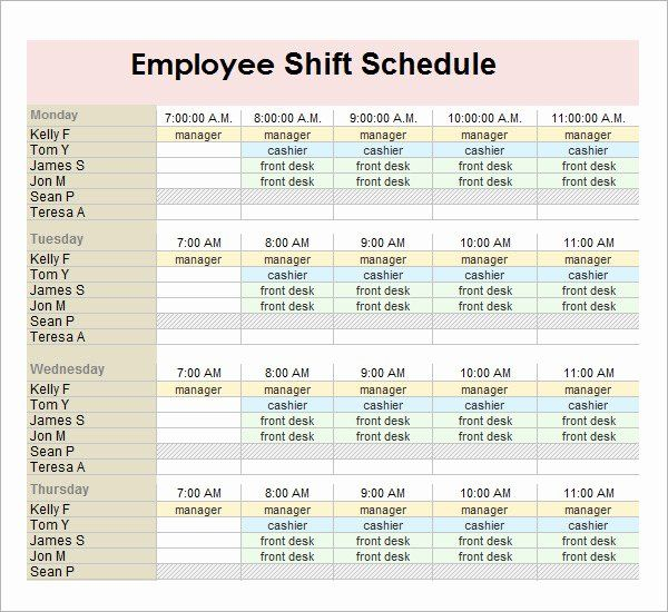 Employee Monthly Schedule Template Elegant Monthly