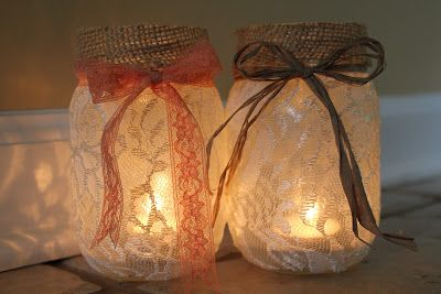 DIY jar luminaries-- great for a wedding by using different colors of ribbon: Diy Mason, Lace Mason Jars, Candles Holders, Burlap Decor, Lights Ideas, Mason Jars Candles, Jars Lights, Candle Jars, Middle Sisters