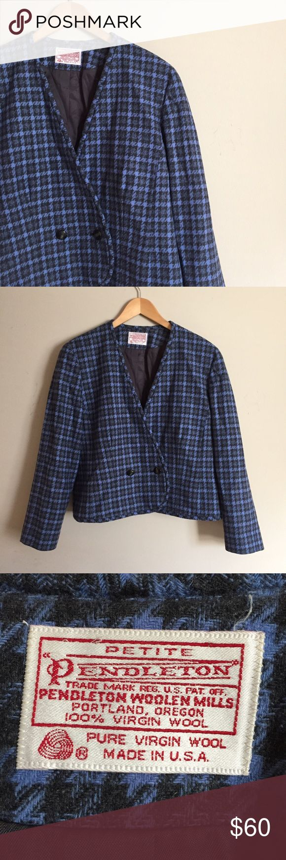 Vintage Pendleton Wool Houndstooth Plaid Blazer Chic vintage blazer in a blue & black houndstooth plaid. 100% wool. Two button closure. Cropped length. Marked petite; would fit sizes 14-18 I think. Pendleton Jackets & Coats Blazers