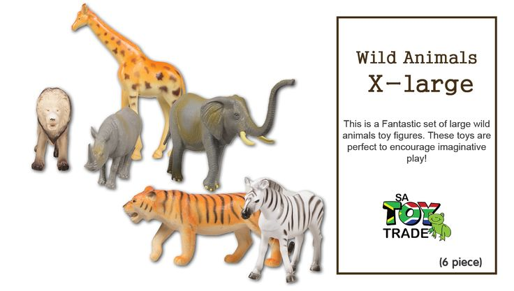 This is a Fantastic set of large wild animals toy figures. These toys are perfect to encourage imaginative play! The set includes 6 plastic Wild Animal figures. Included are a tall Giraffe, a Lion, Tiger, Elephant, Zebra and Rhino. There are no removable parts. Add these Wild Animal figures to your child's toy collection. They are sure to enjoy taking these toys on many adventures. Perfect for the sand tray or the play room. For ages 2+.