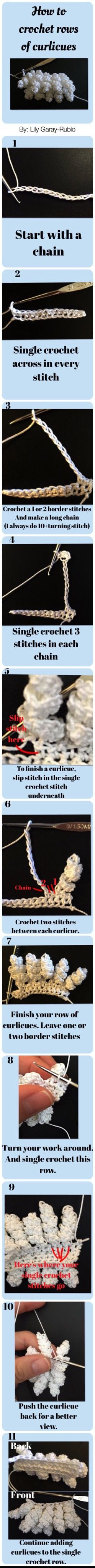 Step-by-step picture tutorial | how to chrochet rows of curlicues| If you're using the Pinterest app do not click on my pins your app will malfunction-if you're using a browser, click on my pin to be redirected to my board for other fun tutorials.