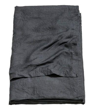 Sengetæppe i vasket hør | Antracitgrå | Home | H&M DK