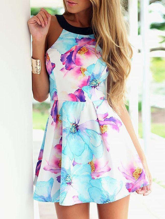 Blue Strap Floral Slim Flare Dress