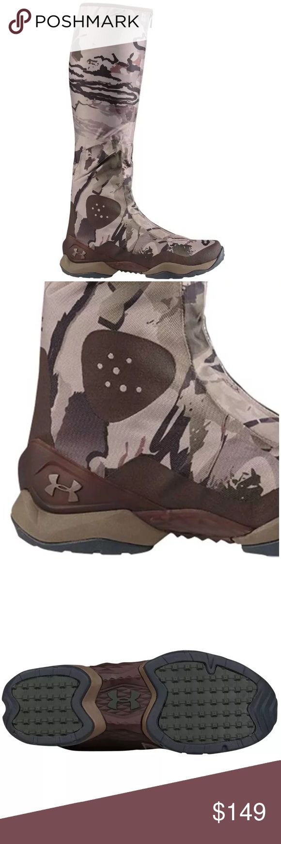 Under Armour OPS Hunter camo boots Brand New no box Under Armour Ops Hunter Boot Ridge Reaper Camo Barren Size: Men's 8.5 or 9  Innerboot constructed with breathable, waterproof membrane Water resistant external shell and zipper construction Scent Control lining traps & suppresses odors Cupron Anti Fungal Pro Fibers reduce odor & kill 99.9% of athlete's foot fungus after 12 hours of contact with the sockliner Molded EVA midsole with TPU shank for added stability High abrasion rubber outsole…
