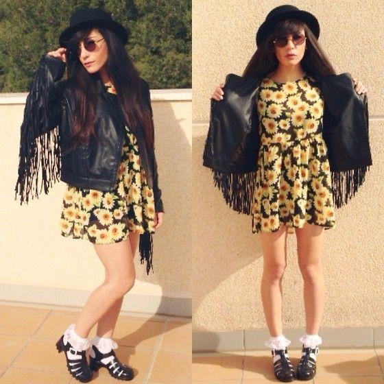 ways to wear jelly sandals - Google Search jelly sandals socks daisy dress leather jacket black hat
