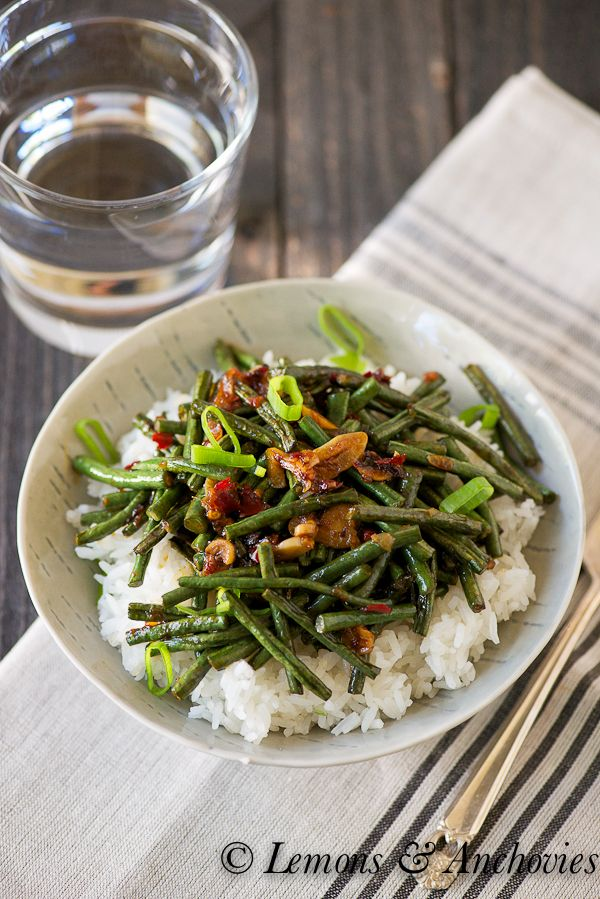 Stir-Fried String Beans with Ginger, Garlic and Chili Sauce--a healthy, tasty dinner in minutes.