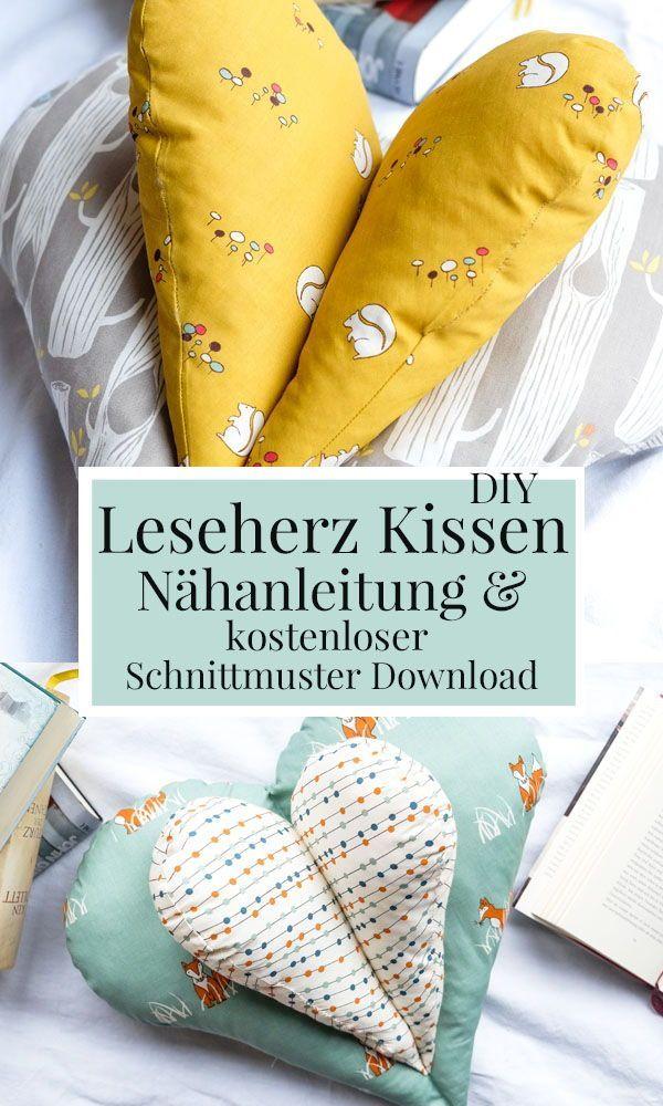 DIY Nähen: Ein gemütliches Kissen zum Lesen   Leseherz Kissen ...