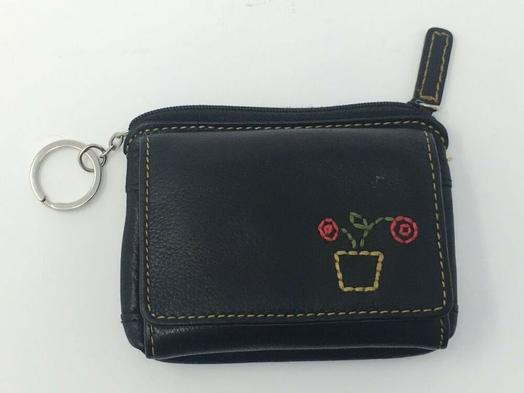 Fossil Wallet with Yarn Flower Design Coin Purse Keychain Credit Card Holders #F…