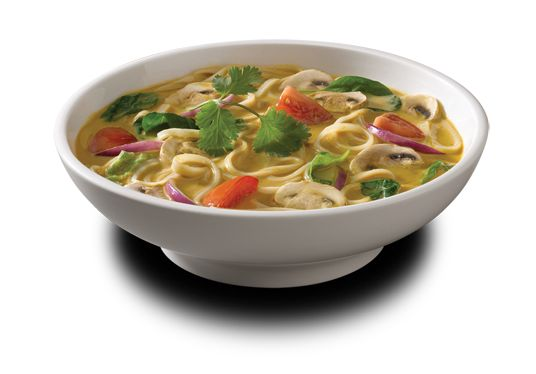 Noodles and Co Copycat Thai Curry Soup Recipe (Minus the shrimp, and sub with veggie broth) I would also add thinly sliced red onion, carrot strips, sliced mushrooms, and a wedge of roma tomato and a couple drops of Sriracha or red pepper flakes