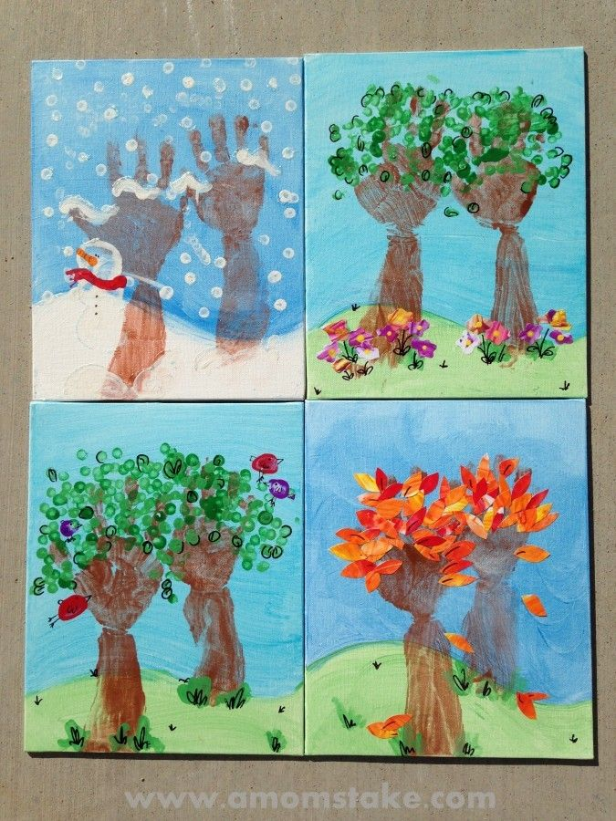 Calendar Craft Ideas Ks : Seasons of love handprint art fun stuff for the kids