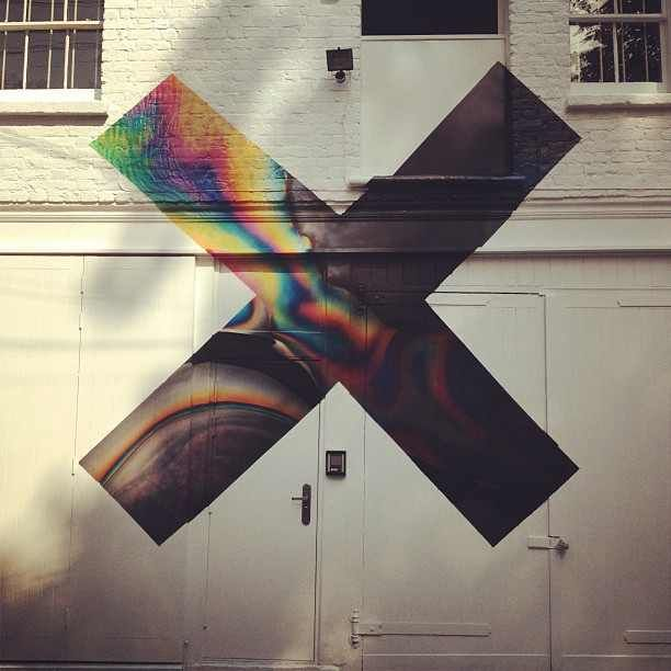The xx's new album cover painted over the doors to XL Recording's in-house  studio, where they recorded their first album. #xx #thexx #music