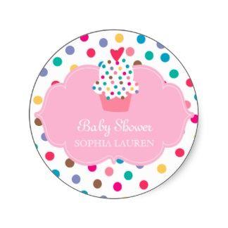 Baby Shower Cupcake Stickers Polka Dot Pink