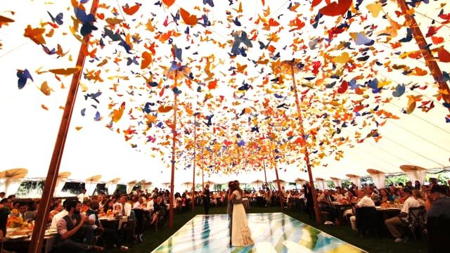 With thousands of butterflies for decor + wedding VOWS that will bring happy tears -- this 3 minute wedding video will surely brighten your day! On SMP Weddings today: http://www.StyleMePretty.com/little-black-book-blog/2017/02/11/whimsical-colorful-california-ranch-wedding/ from ReelEyesMedia.com