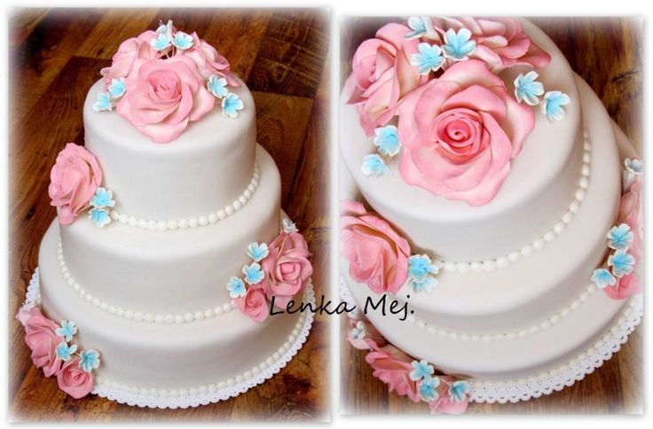Wedding cake pink and mint by Lenka - http://cakesdecor.com/cakes/284634-wedding-cake-pink-and-mint