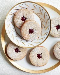 Linzer cookie with spiced jam. Love the idea of anise and corriander ...