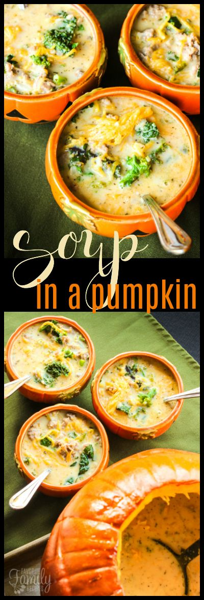 This Soup in a Pumpkin is the BEST fall recipe. It makes the house smell amazing as it cooks and the bits of pumpkin in the soup are SO yummy! via @favfamilyrecipz