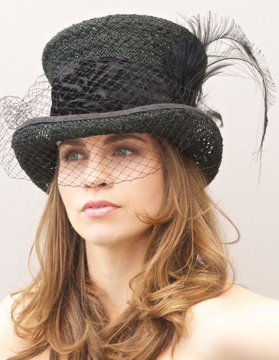 Black Formal Hat. Victorian English Riding Hat Top by AwardDesign ... 10249da65ef