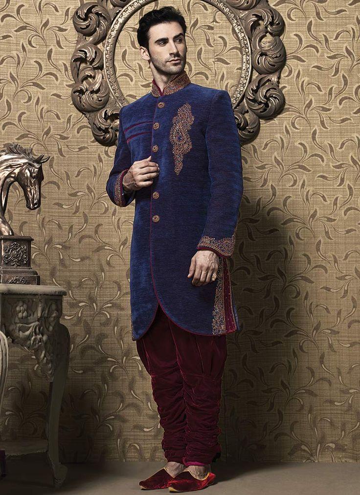 Stunning blue breeches style sherwani