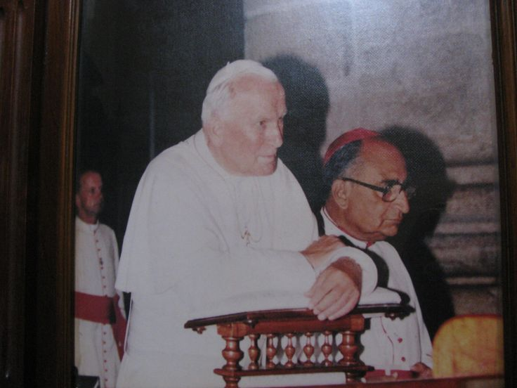 Blessed Pope John Paul ll is praying in the Cathedral of Merida, Yucatan in 1993. It is home to the statue of Our Lady of Yucatan.