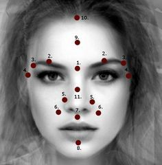 11 Vital Points (Marmas) On The Face And How To Stimulate Them  Vital Points    1. Sthapani Marma   This point controls the 6th chakra (our energy center) as well as the mind, body energy, the senses, the pitu ..  http://www.nashvilleayurveda.com/vital-points-marmas-face/