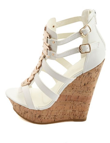 Gold-Plated Strappy Platform Wedge Sandals: Charlotte Russe