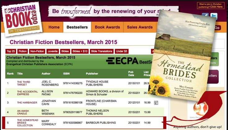 I'm so excited to announce that The Homestead Brides Collection has reached #5 on the ECPA Bestsellers lists for March, 2015!
