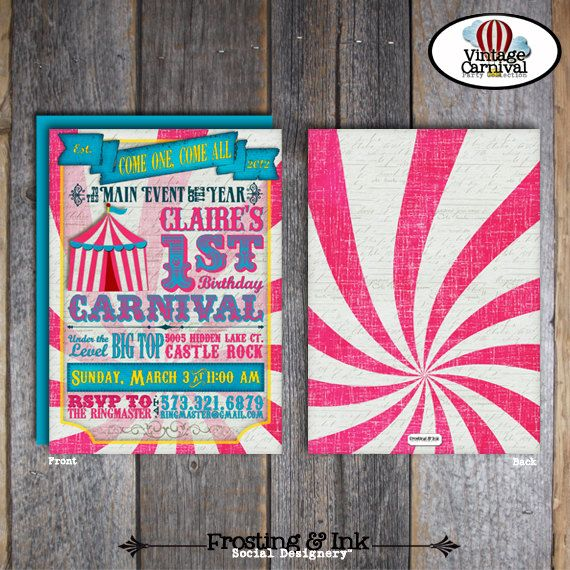 Carnival Party - Circus Party - Invitation (Double Sided) - Pink Blue Yellow - Customized Printable (Girl, Vintage, Big Top)