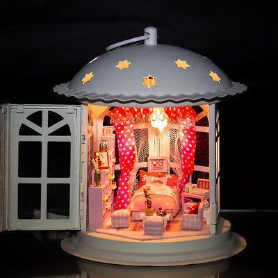Dollhouse Miniature Metal DIY Kit w/ Light Voice control system Romantic Home
