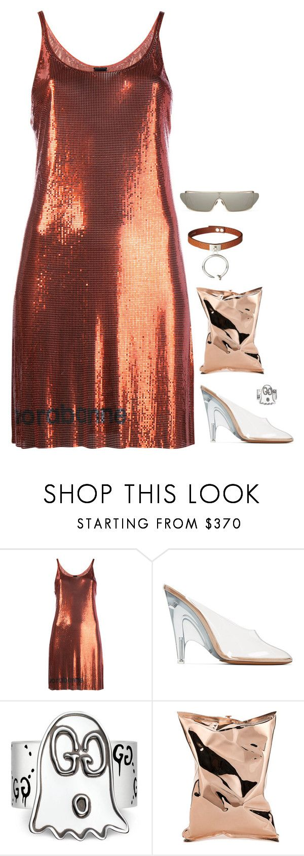 """Metalic look with paco rabanne orange dress like kim"" by hugovrcl ❤ liked on Polyvore featuring Paco Rabanne, adidas Originals, Gucci and Anya Hindmarch"