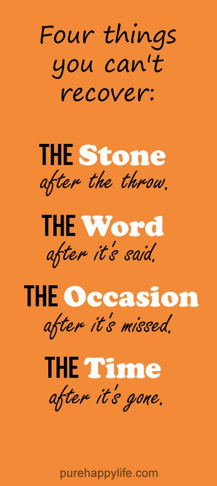 Life Quote Four things you can't recover The Stone after