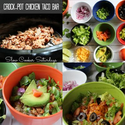 Crock-pot Chicken Taco Bar or Burrito Bowl- starts with as little as 2 ingredients in the crock pot.
