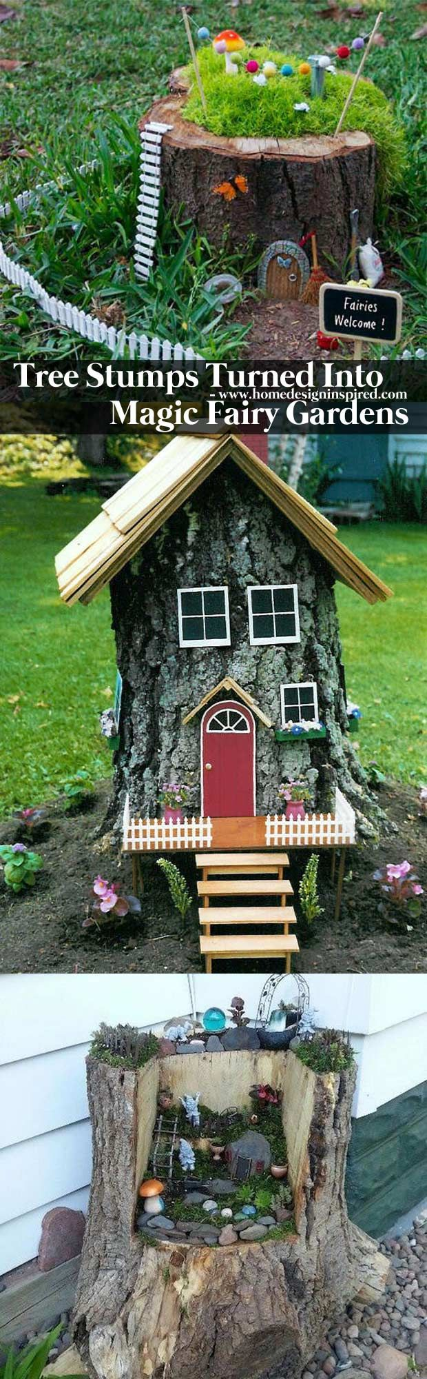 Tree stumps turned into magic fairy houses - 17 Stunning Fairy Gardens Created by Recycled Things