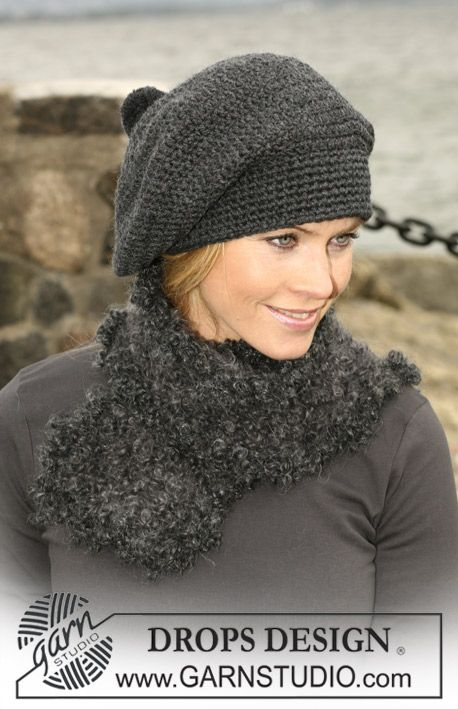 A set of: Crocheted DROPS beret in Alaska and knitted scarf in Puddel. Free pattern by DROPS Design.