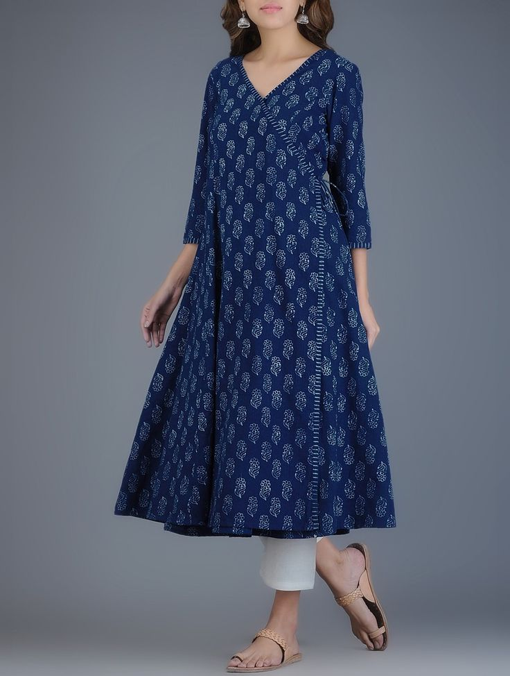 Buy Indigo Ivory Block printed Khadi Angrakha Kurta Women Kurtas Online at…