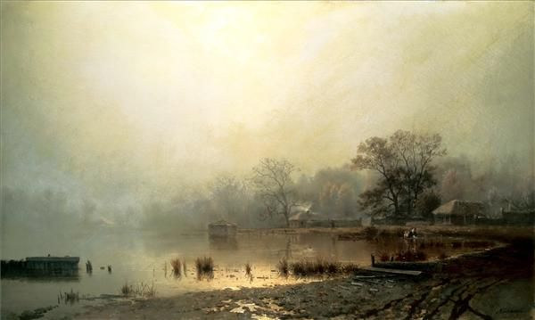Weekly 10 #Russian #Landscape #masters #pleinair #outdoor #art #painting kamenev lev(fog. nice pond in moscow autumn)