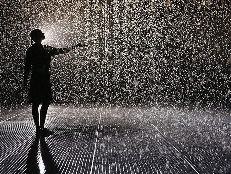 """The """"Rain Room"""" lets you walk through a rainstorm without getting wet. LA County Museum of Art."""