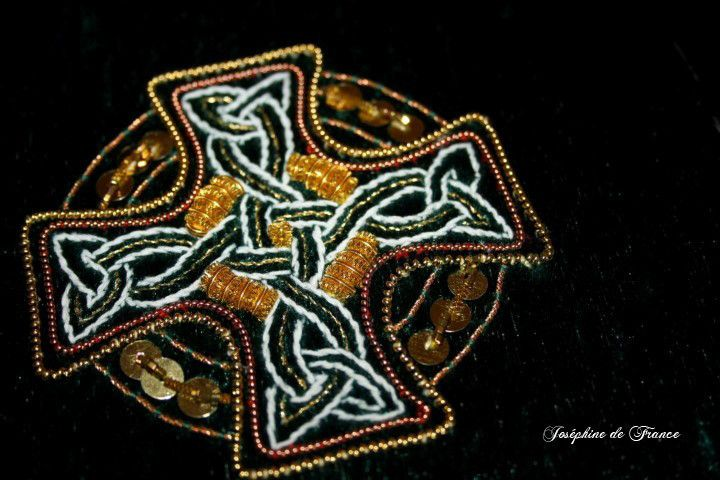 Celtic cross- Goldwork on green velvet