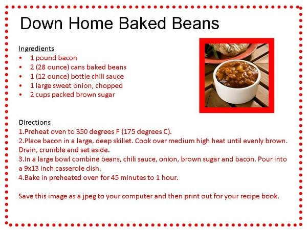 Down Home Baked Beans | TGIF | Pinterest