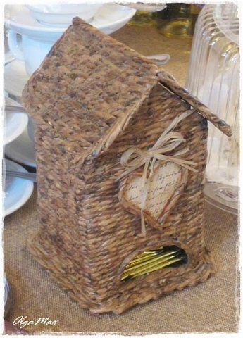 Поделка изделие Плетение Плетение из бумажной лозы Бумага газетная Трубочки бумажные фото 9