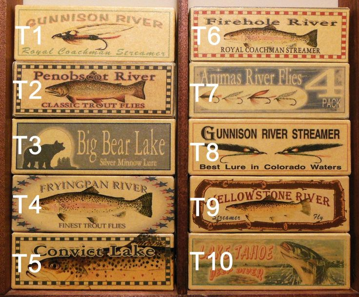 Four Fly Fishing Lure Boxes of YOUR favorite trout stream, river, lake or brook - cabin decor. $24.75, via Etsy.