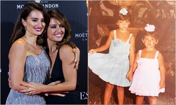 Penelope Cruz and dancer-actress sister Monica Cruz    Penelope's little sister looks just like her mini-me! The sisters look adorable in their matching dress and hair bow outfits.    Photos: Getty Images, Instagram/@penelopecruzoficial
