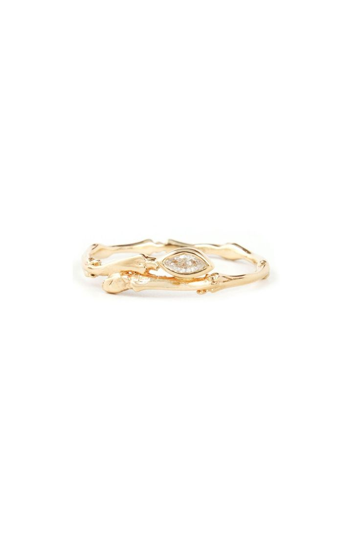 Bittersweets NY Marquise Twig Ring, $725; catbirdnyc.com   - ELLE.com