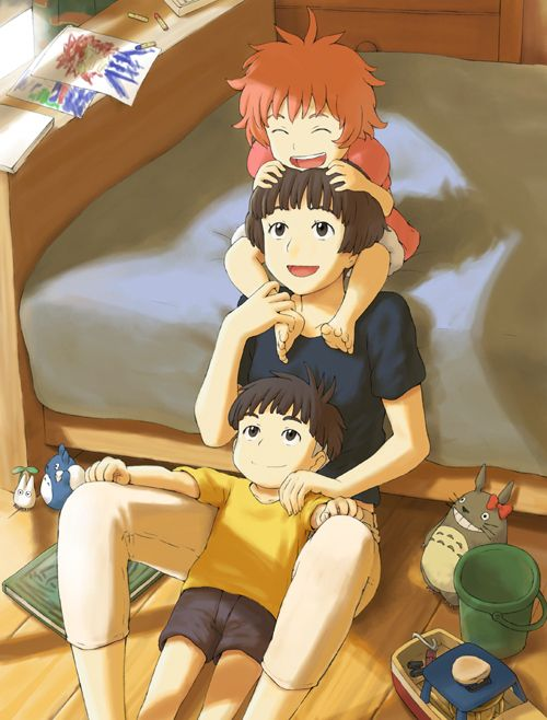 Lisa, Ponyo and Sosuke!  I hope they don't grow up and become like brother/sister.  It seems like they might due to Lisa adopting Ponyo.... but I'm sure they won't!  Ponyo and Sosuke could never be separated!  Sosuke loves her too much to let her turn back into a goldfish.