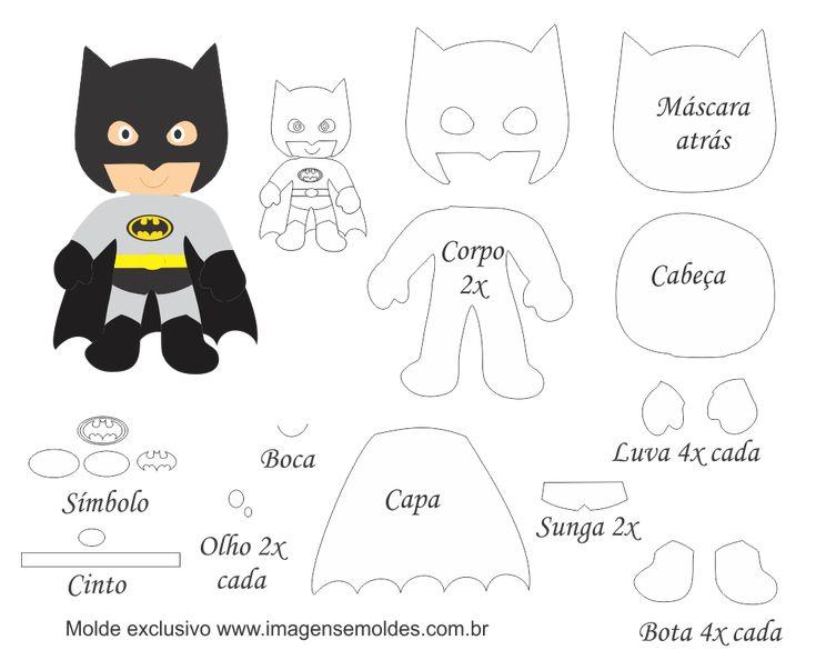 Molde Personagem - Batman - Molde para Feltro - EVA e Artesanato, Molde Personagem - Batman - Molde para EVA - Feltro e Artesanato, Heróis